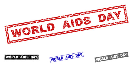 Grunge WORLD AIDS DAY rectangle stamp seals isolated on a white background. Rectangular seals with grunge texture in red, blue, black and gray colors.