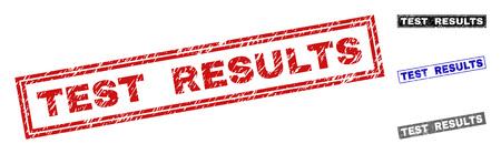 Grunge RISULTATI DEL TEST rettangolari sigilli timbro isolati su uno sfondo bianco. Sigilli rettangolari con texture di soccorso nei colori rosso, blu, nero e grigio.
