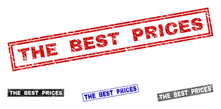 Grunge THE BEST PRICES rectangle stamp seals isolated on a white background. Rectangular seals with grunge texture in red, blue, black and gray colors.