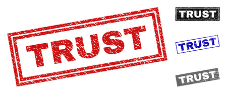Grunge TRUST rectangle stamp seals isolated on a white background. Rectangular seals with distress texture in red, blue, black and gray colors.