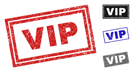Grunge VIP rectangle stamp seals isolated on a white background. Rectangular seals with grunge texture in red, blue, black and gray colors. 일러스트