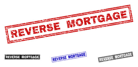 Grunge REVERSE MORTGAGE rectangle stamp seals isolated on a white background. Rectangular seals with grunge texture in red, blue, black and grey colors.