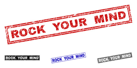 Grunge ROCK YOUR MIND rectangle stamp seals isolated on a white background. Rectangular seals with distress texture in red, blue, black and grey colors. Illustration