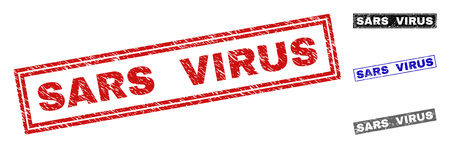 Grunge SARS VIRUS rectangle stamp seals isolated on a white background. Rectangular seals with distress texture in red, blue, black and grey colors.