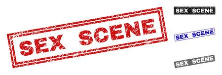 Grunge SEX-SZENE Rechteck Stempelsiegel isoliert auf weißem Hintergrund. Rechteckige Dichtungen mit Grunge-Textur in den Farben Rot, Blau, Schwarz und Grau.