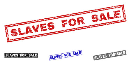 Grunge SLAVES FOR SALE rectangle stamp seals isolated on a white background. Rectangular seals with grunge texture in red, blue, black and grey colors.