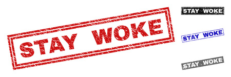 Grunge STAY WOKE rectangle stamp seals isolated on a white background. Rectangular seals with grunge texture in red, blue, black and gray colors.
