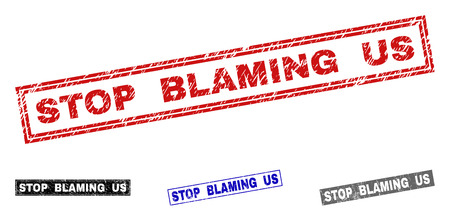 Grunge STOP BLAMING US rectangle stamp seals isolated on a white background. Rectangular seals with distress texture in red, blue, black and gray colors.