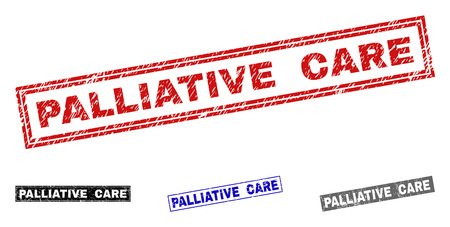 Grunge PALLIATIVE CARE rectangle stamp seals isolated on a white background. Rectangular seals with grunge texture in red, blue, black and gray colors.