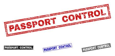 Grunge kontroli paszportu pieczęć pieczęć prostokąt na białym tle na białym tle. Prostokątne plomby o fakturze awaryjnej w kolorach czerwonym, niebieskim, czarnym i szarym.