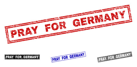 Grunge PRAY FOR GERMANY rectangle stamp seals isolated on a white background. Rectangular seals with grunge texture in red, blue, black and grey colors.