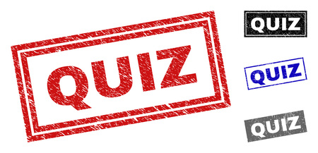 Grunge QUIZ rectangle stamp seals isolated on a white background. Rectangular seals with distress texture in red, blue, black and grey colors.