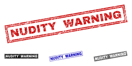 Grunge NUDITY WARNING rectangle stamp seals isolated on a white background. Rectangular seals with grunge texture in red, blue, black and grey colors.