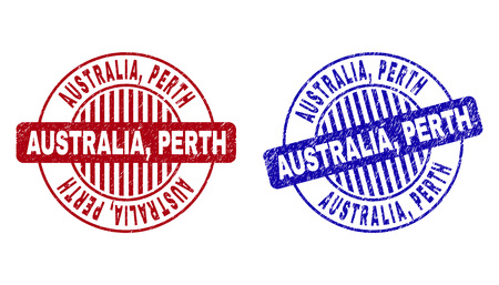 Grunge AUSTRALIA, PERTH round stamp seals isolated on a white background. Round seals with distress texture in red and blue colors. Vector rubber imprint of AUSTRALIA, Illustration