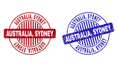 Grunge AUSTRALIA, SYDNEY round stamp seals isolated on a white background. Round seals with grunge texture in red and blue colors. Vector rubber overlay of AUSTRALIA, Ilustração