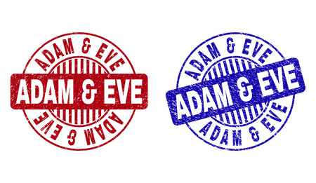 Grunge ADAM & EVE round stamp seals isolated on a white background. Round seals with grunge texture in red and blue colors. Vector rubber watermark of ADAM & EVE tag inside circle form with stripes. Illustration