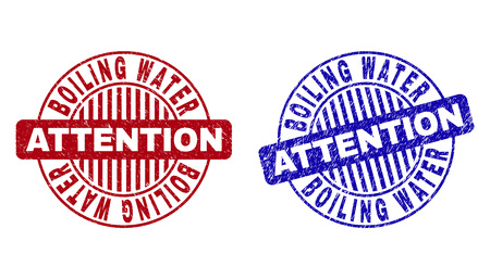 Grunge BOILING WATER ATTENTION round stamp seals isolated on a white background. Round seals with grunge texture in red and blue colors.