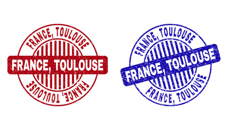 Grunge FRANCE, TOULOUSE round stamp seals isolated on a white background. Round seals with grunge texture in red and blue colors. Vector rubber imitation of FRANCE,