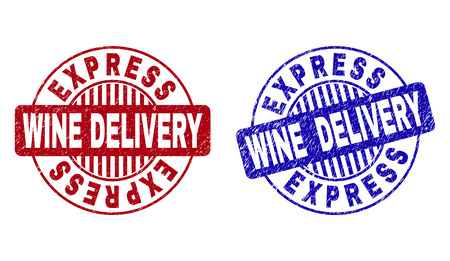 Grunge EXPRESS WINE DELIVERY round stamp seals isolated on a white background. Round seals with grunge texture in red and blue colors.