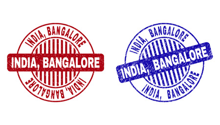 Grunge INDIA, BANGALORE round stamp seals isolated on a white background. Round seals with grunge texture in red and blue colors. Vector rubber imitation of INDIA,