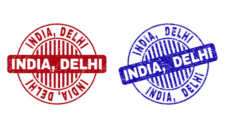 Grunge INDIA, DELHI round stamp seals isolated on a white background. Round seals with grunge texture in red and blue colors. Vector rubber imprint of INDIA, DELHI tag inside circle form with stripes.