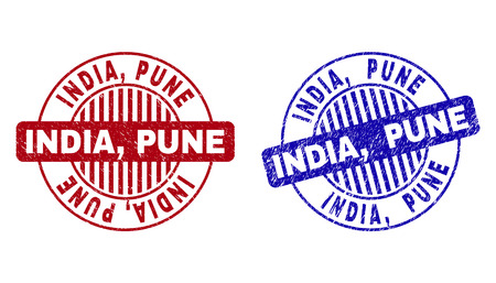 Grunge INDIA, PUNE round stamp seals isolated on a white background. Round seals with grunge texture in red and blue colors. Vector rubber imitation of INDIA,