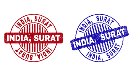 Grunge INDIA, SURAT round stamp seals isolated on a white background. Round seals with distress texture in red and blue colors. Vector rubber overlay of INDIA,