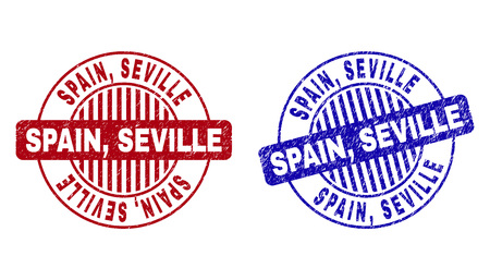 Grunge SPAIN, SEVILLE round stamp seals isolated on a white background. Round seals with grunge texture in red and blue colors. Vector rubber overlay of SPAIN,