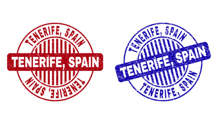 Grunge TENERIFE, SPAIN round stamp seals isolated on a white background. Round seals with grunge texture in red and blue colors. Vector rubber imitation of TENERIFE,