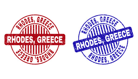Grunge RHODES, GREECE round stamp seals isolated on a white background. Round seals with grunge texture in red and blue colors. Vector rubber imprint of RHODES,
