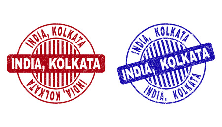 Grunge INDIA, KOLKATA round stamp seals isolated on a white background. Round seals with grunge texture in red and blue colors. Vector rubber imitation of INDIA, Illustration
