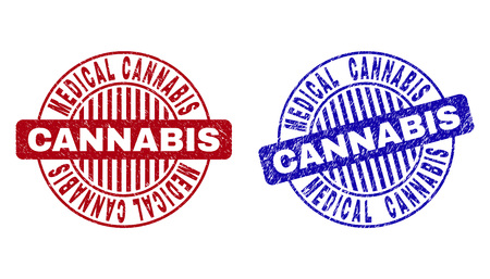 Grunge MEDICAL CANNABIS round stamp seals isolated on a white background. Round seals with grunge texture in red and blue colors.  イラスト・ベクター素材