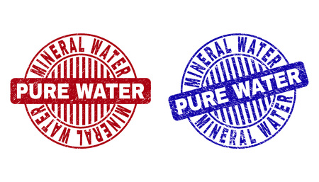 Grunge MINERAL WATER PURE WATER round stamp seals isolated on a white background. Round seals with grunge texture in red and blue colors.