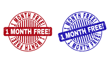 Grunge 1 MONTH FREE! round stamp seals isolated on a white background. Round seals with distress texture in red and blue colors.
