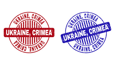 Grunge UKRAINE, CRIMEA round stamp seals isolated on a white background. Round seals with grunge texture in red and blue colors. Vector rubber watermark of UKRAINE, 向量圖像