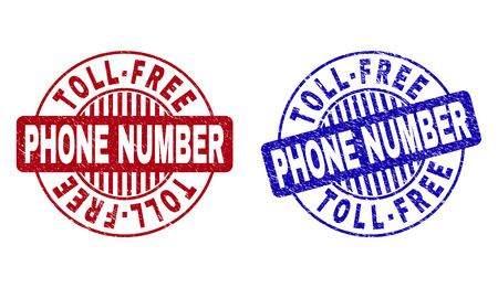Grunge TOLL-FREE PHONE NUMBER round stamp seals isolated on a white background. Round seals with grunge texture in red and blue colors.