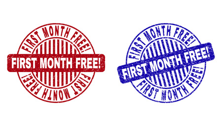 Grunge FIRST MONTH FREE! round stamp seals isolated on a white background. Round seals with grunge texture in red and blue colors.