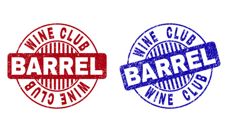 Grunge WINE CLUB BARREL round stamp seals isolated on a white background. Round seals with grunge texture in red and blue colors.