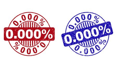 Grunge 0.000% round stamp seals isolated on a white background. Round seals with grunge texture in red and blue colors. Vector rubber imitation of 0.000% title inside circle form with stripes. Illustration