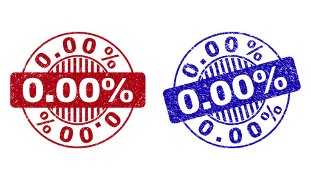 Grunge 0.00% round stamp seals isolated on a white background. Round seals with grunge texture in red and blue colors. Vector rubber imitation of 0.00% label inside circle form with stripes.