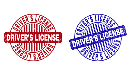 Grunge DRIVERS LICENSE round stamp seals isolated on a white background. Round seals with distress texture in red and blue colors. Stock Illustratie