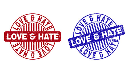 Grunge LOVE & HATE round stamp seals isolated on a white background. Round seals with grunge texture in red and blue colors.