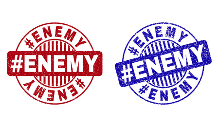 Grunge #ENEMY round stamp seals isolated on a white background. Round seals with distress texture in red and blue colors. Vector rubber imitation of #ENEMY text inside circle form with stripes.