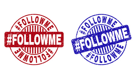 Grunge #FOLLOWME round stamp seals isolated on a white background. Round seals with grunge texture in red and blue colors. Vector rubber imitation of #FOLLOWME text inside circle form with stripes. Vectores