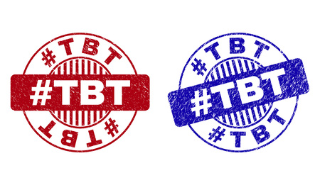 Grunge #TBT round stamp seals isolated on a white background. Round seals with distress texture in red and blue colors. Vector rubber imitation of #TBT caption inside circle form with stripes.