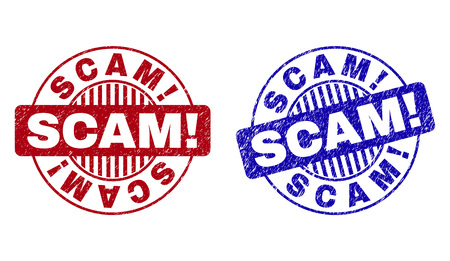 Grunge SCAM! round stamp seals isolated on a white background. Round seals with grunge texture in red and blue colors. Vector rubber imitation of SCAM! title inside circle form with stripes. Stock Vector - 124134531