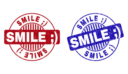 Grunge SMILE ;) round stamp seals isolated on a white background. Round seals with grunge texture in red and blue colors. Vector rubber overlay of SMILE ;) tag inside circle form with stripes.