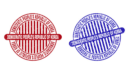 Grunge DEMOCRATIC PEOPLES REPUBLIC OF KOREA round stamp seals isolated on a white background. Round seals with grunge texture in red and blue colors.