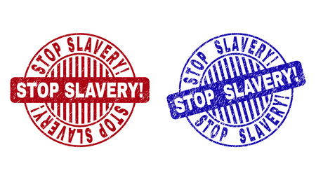 Grunge STOP SLAVERY! round stamp seals isolated on a white background. Round seals with grunge texture in red and blue colors.