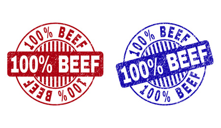 Grunge 100% BEEF round stamp seals isolated on a white background. Round seals with grunge texture in red and blue colors. Vector rubber watermark of 100% BEEF tag inside circle form with stripes. Vektorgrafik